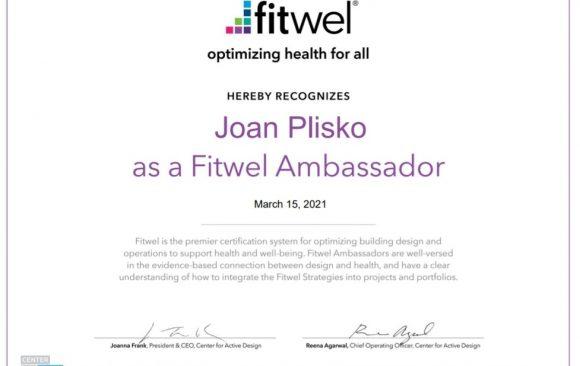 Joan Plisko Certified as Fitwel Ambassador